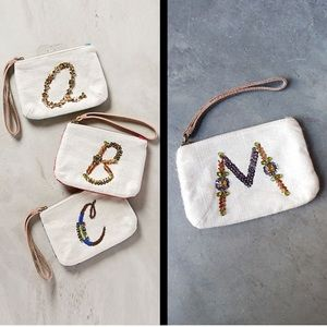 Anthropologie Miss Albright M monogram wristlet